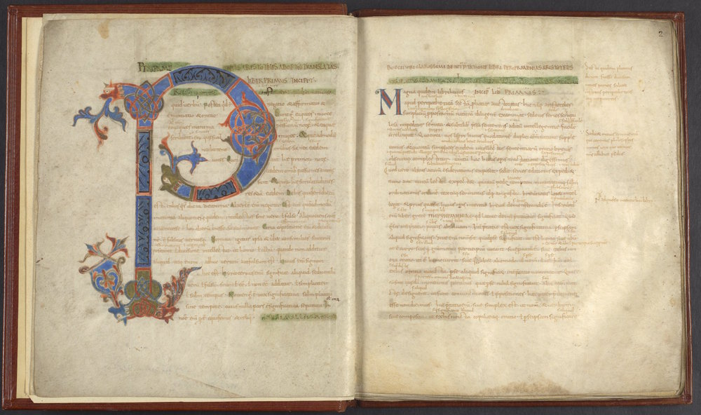 This ninth-century manuscript, Penn LJS 101, contains Boethius's Latin translation of Aristotle's On Interpretation, a fundamental work in the philosophy of language. High-resolution images are available at  Penn in Hand .