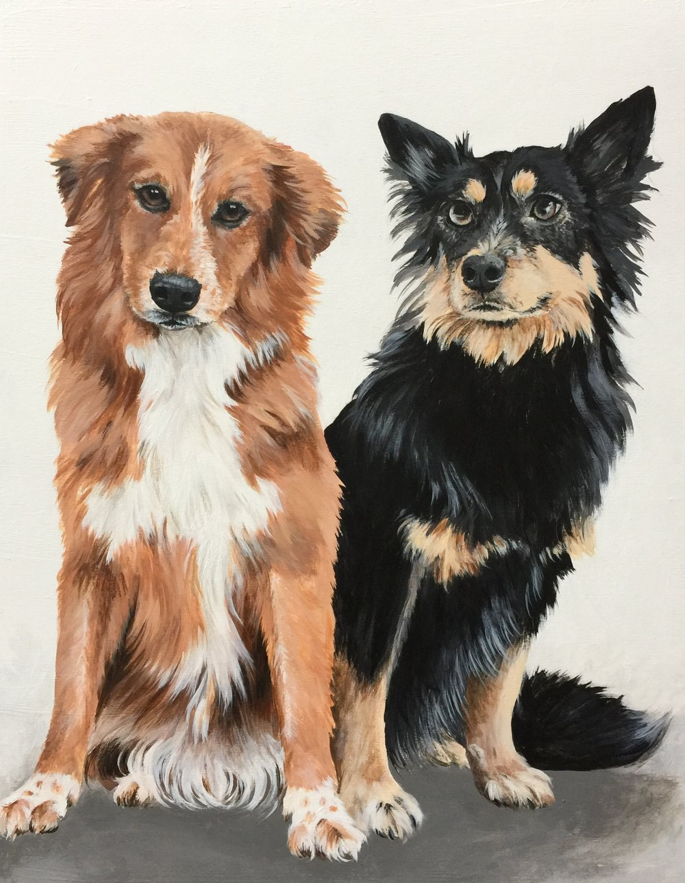 Milley and Cowboy the rescue mutts - commissioned by Janet