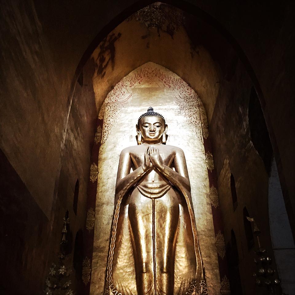 Bagan, Myanmar. – Smiling Buddha statue.