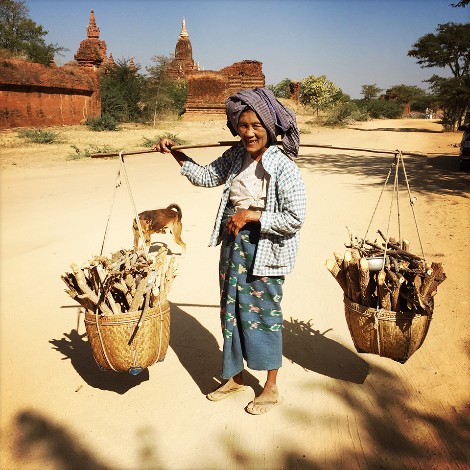 Countryside Bagan, Myanmar – Without gas stove, villagers had to collect firewoods for their daily cooking.