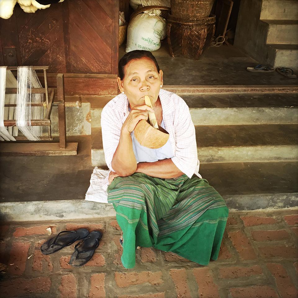 Minnanthu village, Bagan, Myanmar – Smoking cheroot.