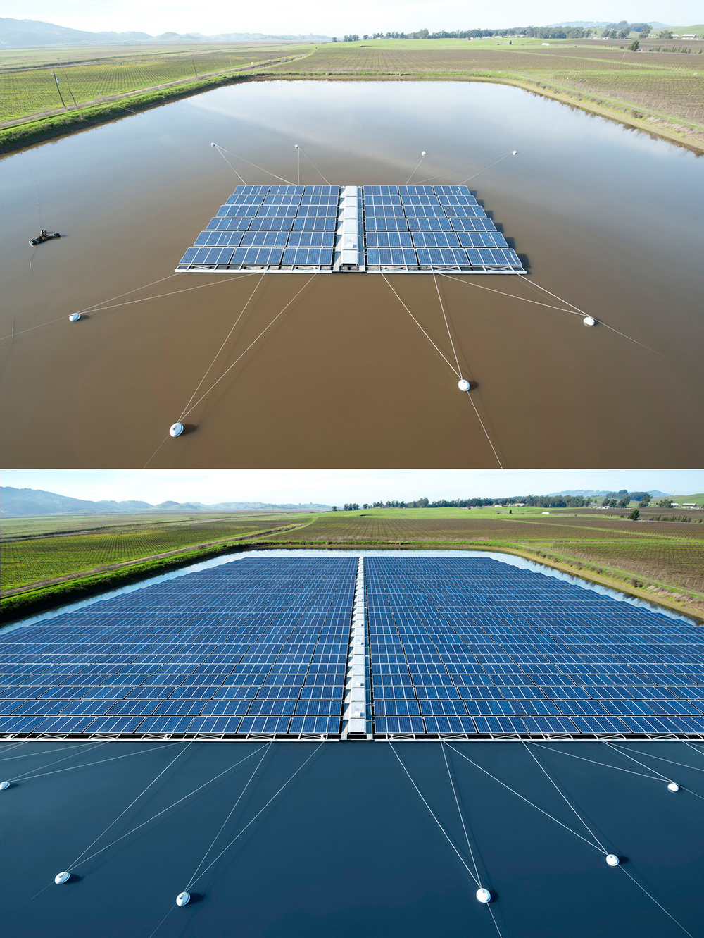 Top: Original photo  Bottom: Photo manipulated image  The objective of this project is to digitally create an extension of solar panels to fill up the pond. Client provided me with their professionally shot image as original plate.  Software: Photoshop  Client: Natalie Kitamura Design, SPG Solar