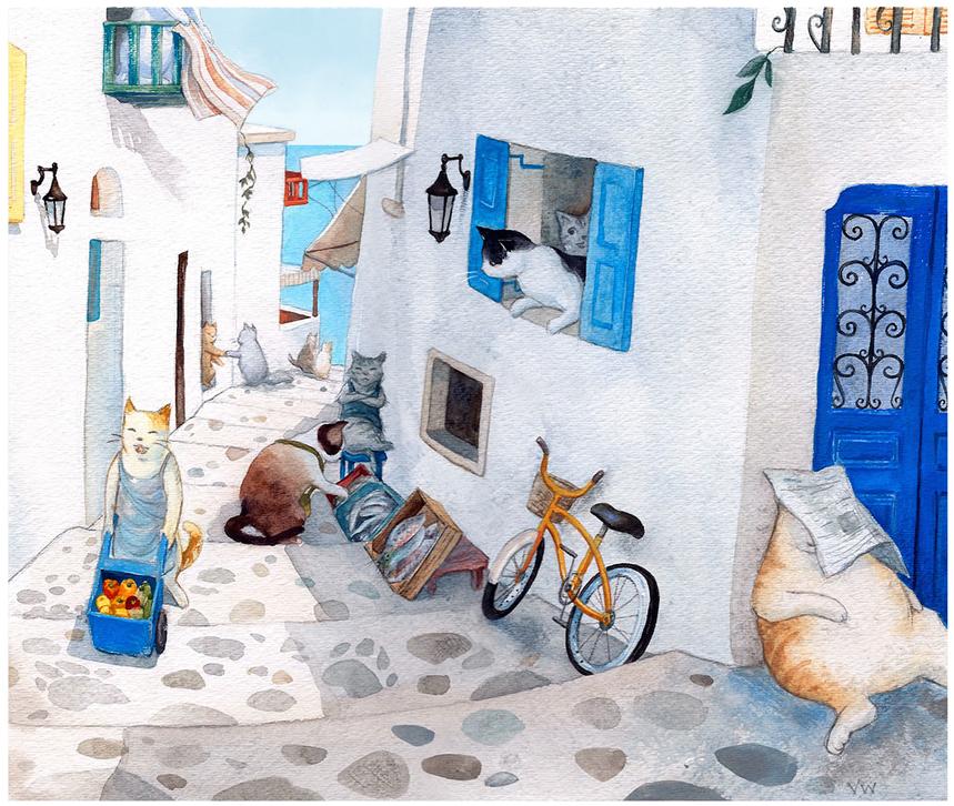 Greek cat village - watercolor