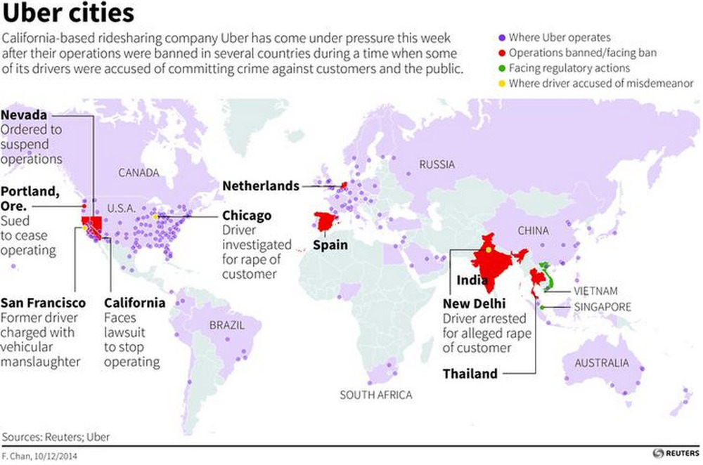 An increasing number of countries are starting to tighten their grip on disruptive services such as Uber. India was the latest nation to impose a full ban on Uber services, but there are potentially more troubles ahead especially in areas where trade and labor unions have a stronger say in shaping legislation; Europe is a particular concern