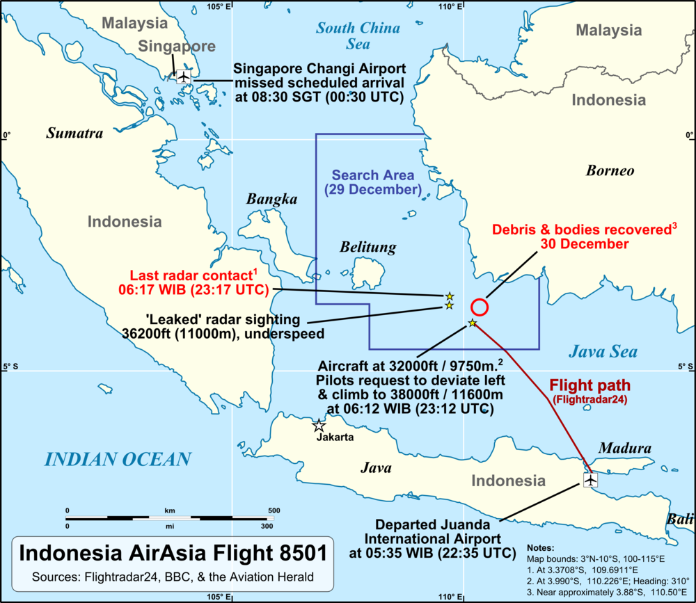 Map visual retrieved from Wikipedia, illustrates the key points and corresponding details. Note that last Radar contact was at 0717 GMT+8, last ADS-B transponder signal was at 0718 GMT+8; data from FlightRadar24 ceases at 0712 GMT+8, but does not mean ADS-B signal was lost. Debris field is South-East-East of coordinates from last Radar transmission