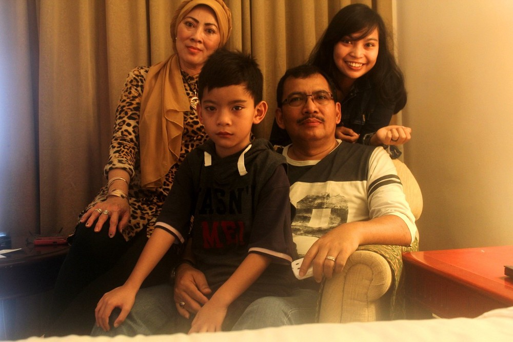 Iriyanto is shown with his wife, Widya, and two children, in a photo provided by his daughter, Angela Anggi Ranastianis