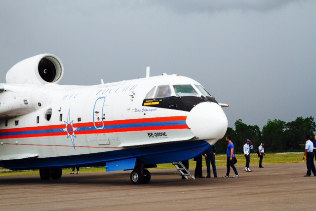 This Russian amphibious plane - a BE-200 - is part of the search efforts, and has a special sonar and acoustic system that can detect beacons from black boxes