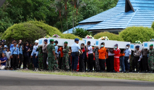 12 bodies are leaving Pangkalan Bun for Surabaya - eight were flown in today, four from yesterday. Nine of the bodies are male, three female