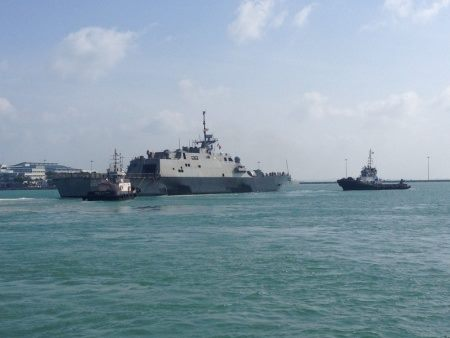 Here are photos of USS Fort Worth leaving Singapore to support AirAsia flight QZ8501 search efforts. USS Sampson is already on scene and has taken an active roll in the recovery efforts. So far the crew has pulled twelve bodies from the Java Sea and returned them to Indonesian officials in charge of the search operation