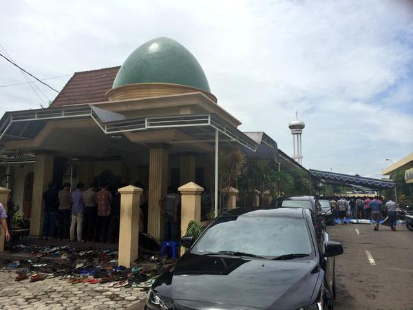 Friday prayers are held at a mosque near the crisis centre in Surabaya