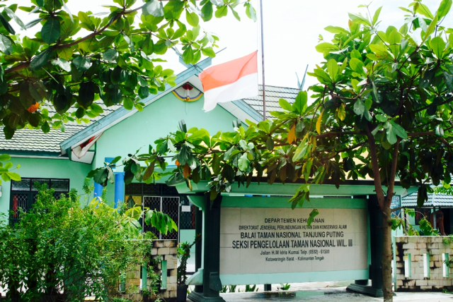The Indonesian flag is flying at half-mast at the national parks office in Pangkalan Bun