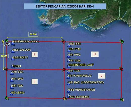 The fourth day of the search for QZ8501 will be focused on 4 sectors of 28 by 56 nautical miles, says Malaysia Chief of Navy Abdul Aziz Jaafar. Singapore's RSS Valour and RSS Swift Rescue will search in sector 2, while the RSS Persistence and RSS Supreme will search in sector 4