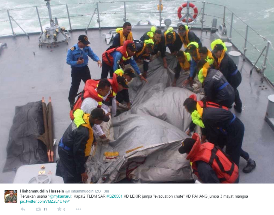 Tweets from   Malaysia's Navy Chief and Defence Minister indicate crew on Malaysia's navy ships found the evacuation slide of QZ8501