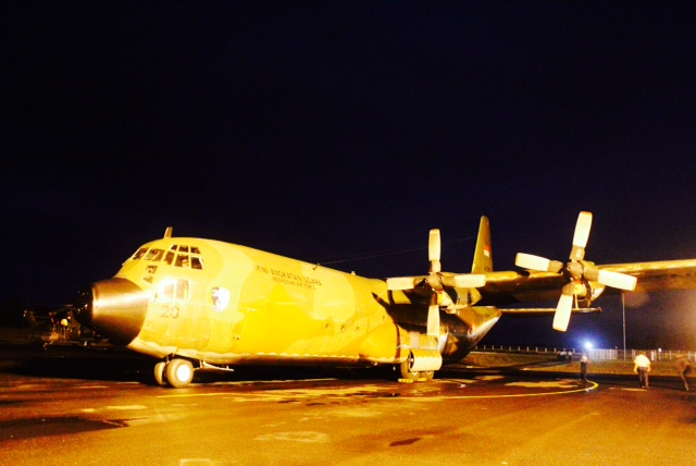 Indonesian air force's C-130 parked on the tarmac