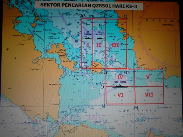 Malaysian Chief of Navy Abdul Aziz Jaafar has tweeted that the search sectors off Belitung Island have been revised