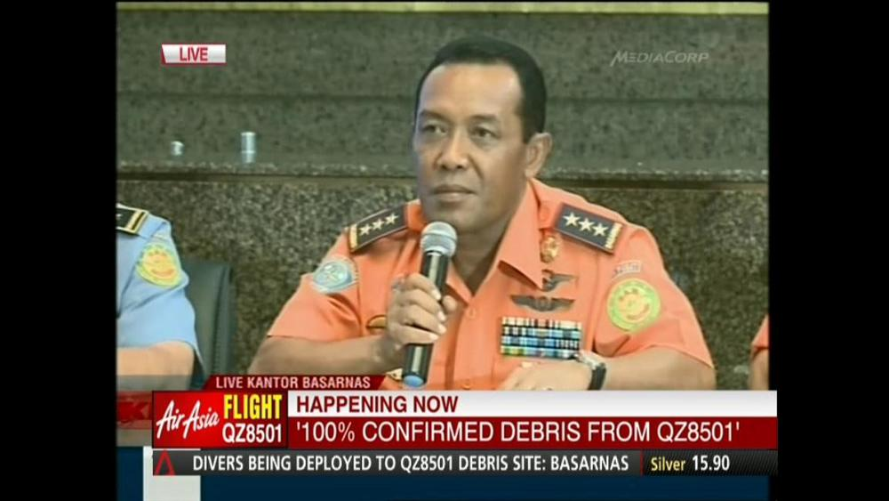 In a news conference, Indonesia's BASARNAS Chief confirms that the debris found today was from the missing AirAsia flight, and BASARNAS hopes to find the largest piece of the jet tonight. There are already many ships at the debris site, including one Singapore ship, but waves of up to 3 metres could pose a challenge to search efforts