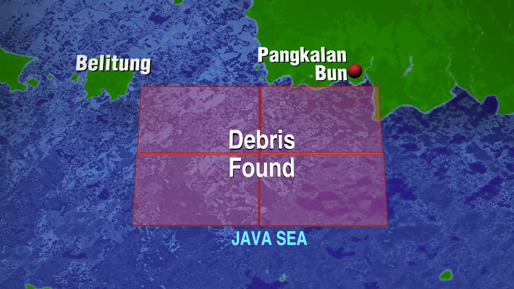 Map illustrating where the AirAsia QZ8501 debris was sighted off Pangkalan Bun near West Kalimantan