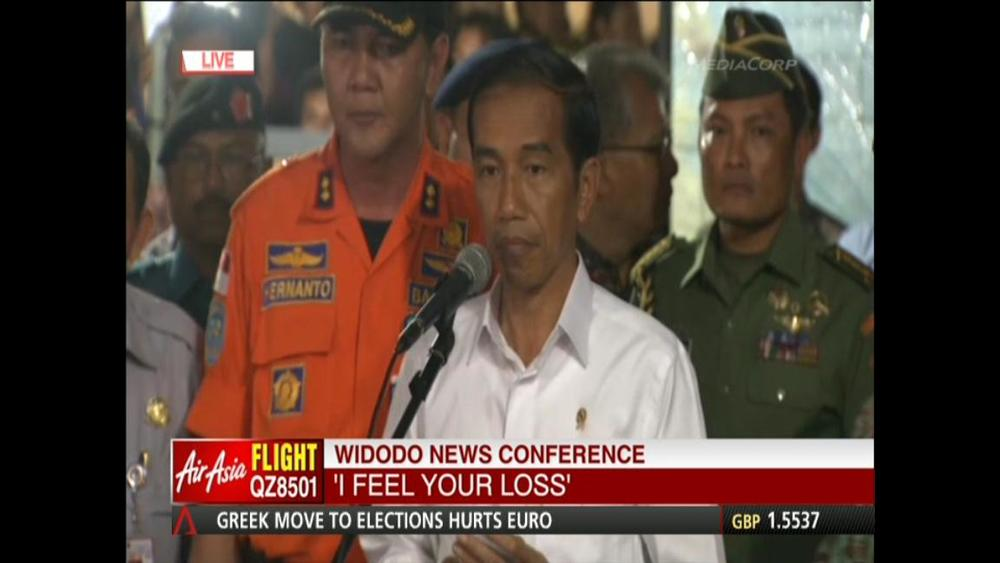 "Indonesia President Joko Widodo thanks Singapore, Malaysia and Australia for their help in search efforts. ""To all relatives, I feel your loss. We all pray families will have strength to face this tragedy,"" he says during a news conference"