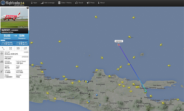 This morning's QZ8501 has departed Surabaya for Singapore, and is estimated to arrive at 8.36am