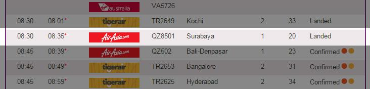 Monday's QZ8501 flight from Surabaya to Singapore - the AirAsia flight with the same code as the missing plane, which took off 24 hours earlier - has landed safely at Changi Airport, Terminal 1
