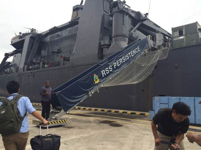 The RSS Persistence has set sail from Singapore's Changi Naval Base, to join two other navy ships bound for the QZ8501 search area. It was previously sent for humanitarian assistance in Aceh