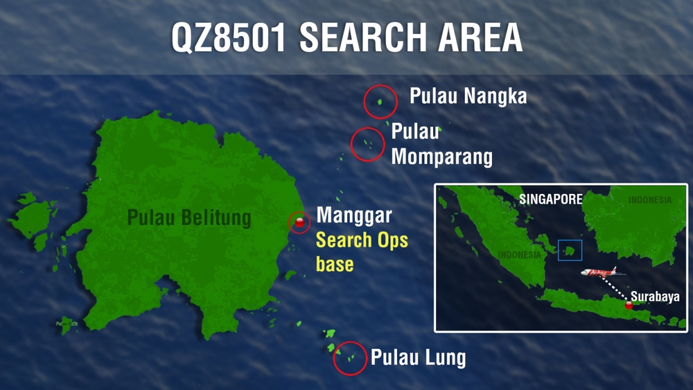 The search for QZ8501 is now concentrated on an oil patch spotted off Belitung island, Indonesian Air Force spokesman Hadi Tjahjanto told AFP. Officials are trying to ascertain if it is aviation fuel, or from a vessel that had travelled along a shipping line