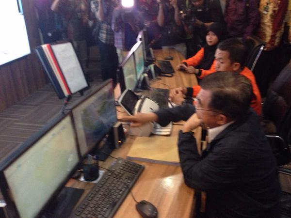 Indonesia's Vice President Jusuf Kalla is at Basarnas' mission control overseeing the search operations