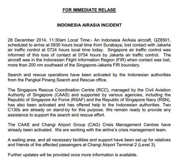 CAAS issues statement