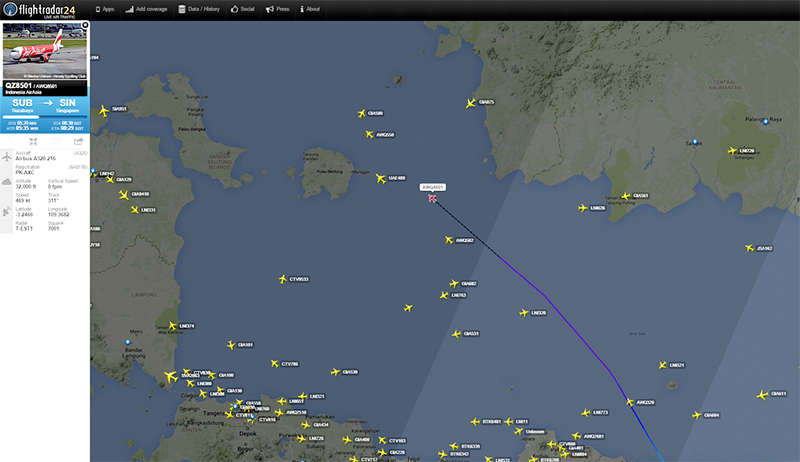 Flightradar24.com has released a map of where contact with AirAsia QZ8501 was lost