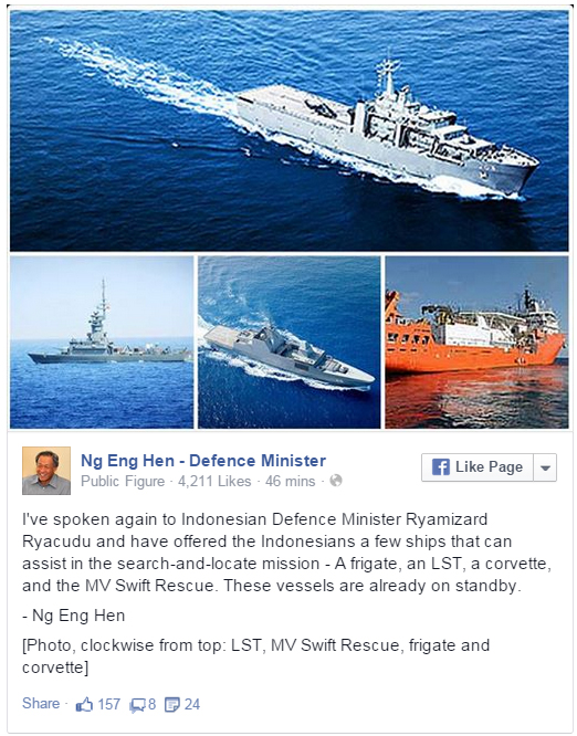 Singapore's Defence Minister said the navy has four ships on standby to join the search