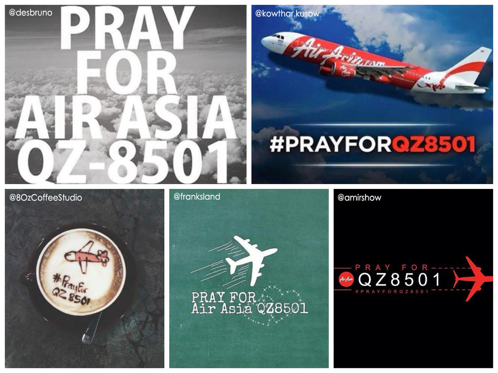 Many are sharing #PrayForQZ8501 art on social media, sending good wishes for those on board