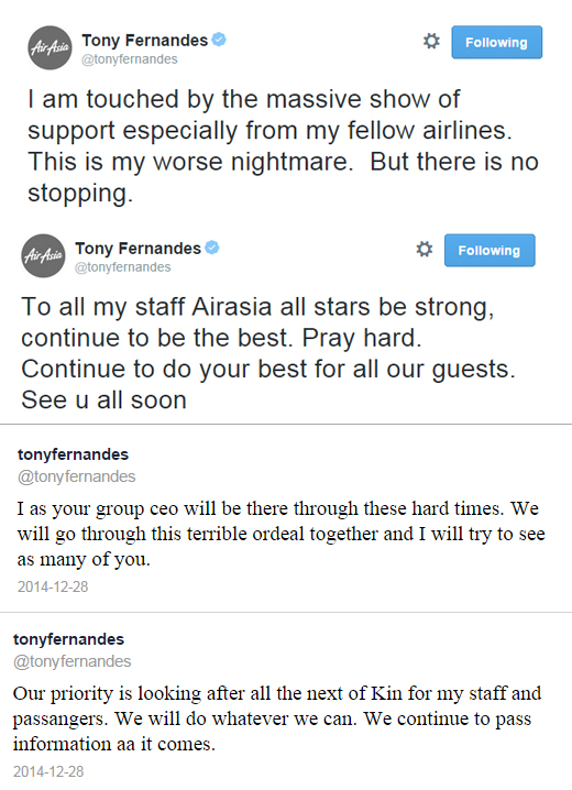"AirAsia Group CEO Tony Fernandes tweets ""this is my worst nightmare, but there is no stopping"