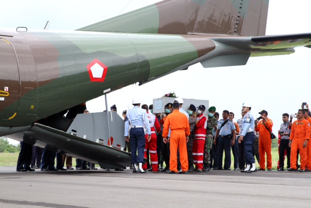 The three bodies that arrived at Pangkalan Bun earlier today are now being sent to Surabaya