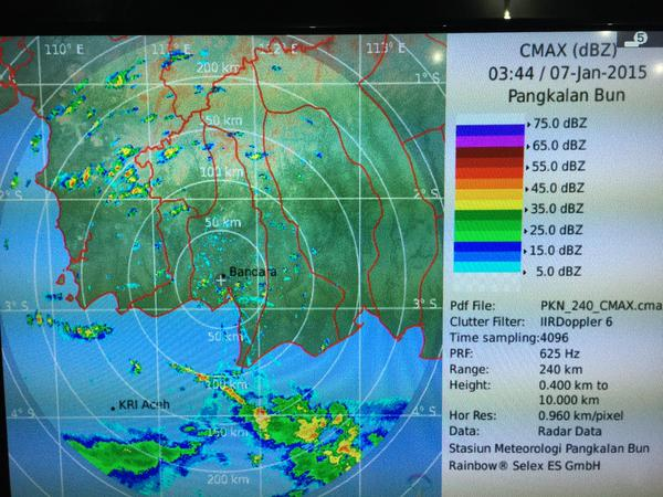 A big storm just passed through Pangkalan Bun and is now on its way to the QZ8501 search area, according to our reporter Jack Board