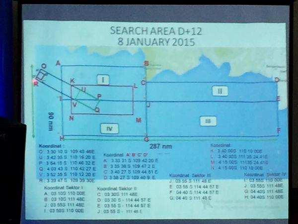 Chart outlines key areas in the search zone - location of the tail and the suspected crash site