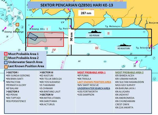 Malaysia's Navy chief Abdul Aziz Jaafar said in a tweet that there were 33 ships deployed in today's search operations