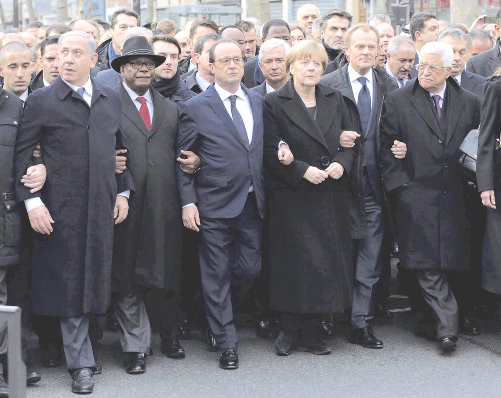 Israeli Prime Minister, Benjamin Netanyahu; Malian President, Ibrahim Boubacar Keita; French President, Francois Hollande; German Chancellor, Angela Merkel; EU President, Donald Tusk; and Palestinian President, Mahmoud Abbas march during a rally in Paris on the 11th of January