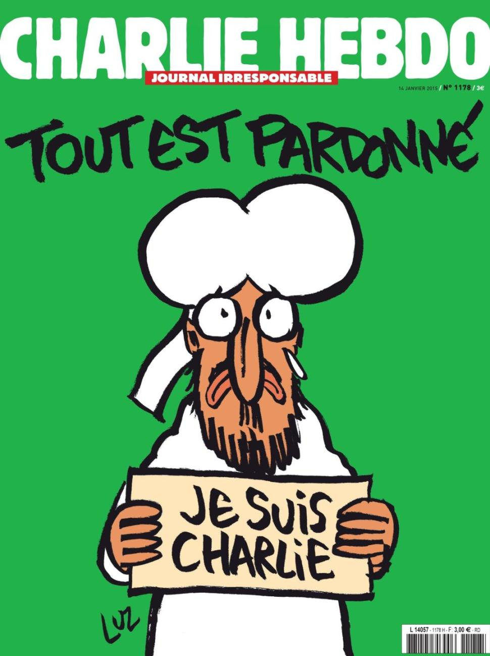 The Charlie Hebdo Weekly that is set to hit stands on Wednesday (14 January) features the Prophet looking apologetic and remorseful as the world is framed to forgive him; a depiction that is expected to receive widespread ovation but is openly defiant to radical jihadists from terror groups the likes of Al Qaeda and ISIS