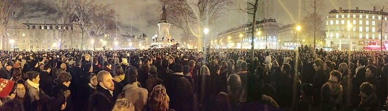 Demonstrators gather in the heart of Paris, the  Place de la République,  on the night the Charlie Hebdo Magazine was attacked. Braving the bitter cold, the sobering solidarity of the people has united France against terror