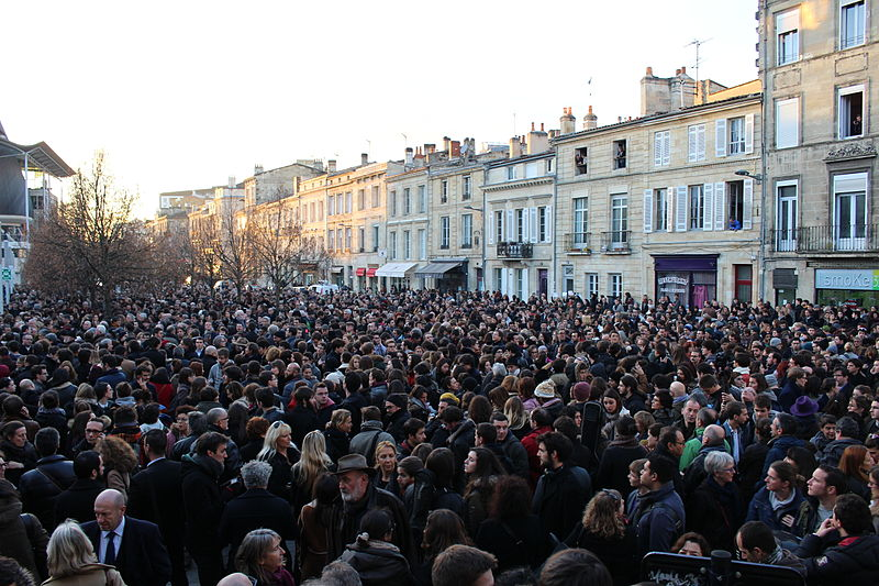 Protestors congregate in Bordeaux on the day after the 8 January Charlie Hebdo shootings. The mood then has been more of frustration over terrorism and empathy towards the lost souls