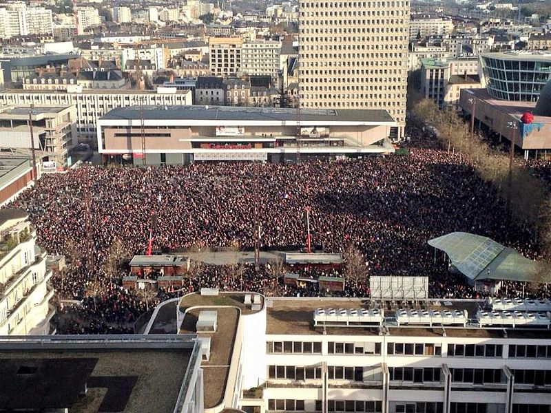 Supporters plague a city square in Rennes, Northwestern France, on 11 January during the Republican Marches held throughout France. The marches are estimated to have gathered around 3.4 million people across the country, making it the largest united event since the Second World War