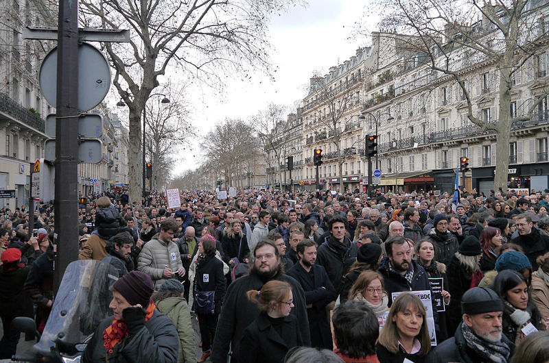 Supporters of the Republican Marches rally in    Boulevard Beaumarchais of Paris, France, as they were joined by world leaders in a show of strength and solidarity of the French people