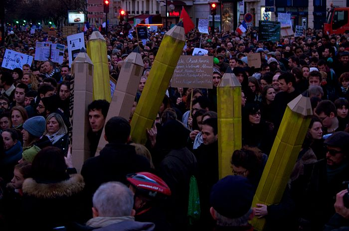 Many supporters brought giant pencils to the Republican Marches of 11 January to rally for France's culture of Freedom of Expression