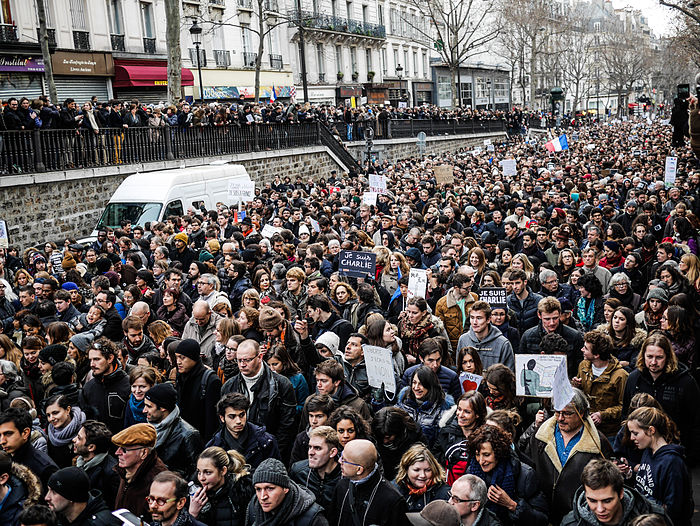 Marchers fill the street in Paris during the Republican Marches of 11 January