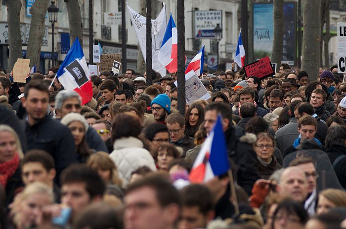 A tight view of a scene during the Unity Marches in Paris, 11th January. Many supporters embellished visuals as a sign of solidarity