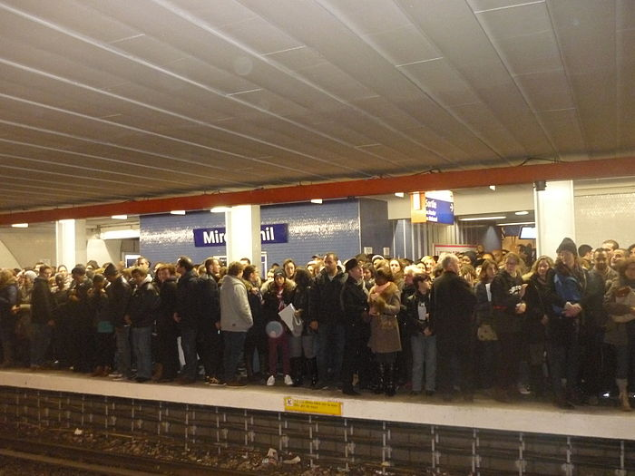 Supporters pack the platform at the Miromensnil Metro station in Paris during the Republican Marches on 11 January