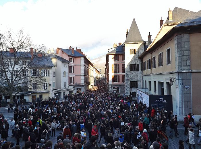 People participate in marches in Chambéry, South-eastern France, as part of the Republican Marches held on 11 January