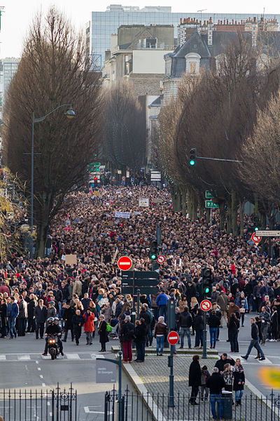 Streets are packed with supporters in Rennes, North-western France, as part of the nation-wide Republican Marches held on 11 January