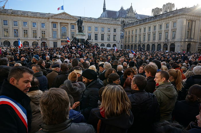 A rally at the Place Royale in Reims, part of the Champagne-Ardenne region northeast of France, as supporters participate in the Republican Marches held on the 11th of January