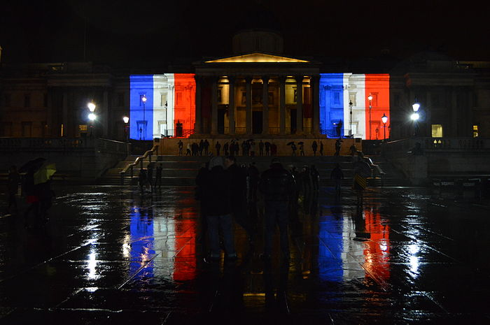 French flag projected on to the side of the National Gallery of London, as a sign of strong solidarity between both nations across the English Channel
